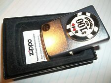 NEW IN BOX ZIPPO LIGHTER WITH HUNDRED DOLLAR POKER CHIP ON FRONT GUARANTEE LIFE