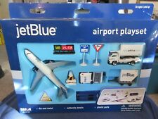 OLDER Daron Jet Blue Airlines Airport Play Set Metal Out of Production 12 Piece
