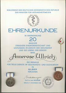 Old East German Lot 7 Item´s Medaille 20 Year´s Medizin Silver + Urkunden