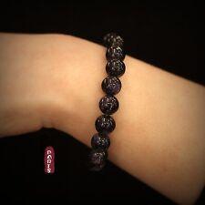 Bracelet Elastique Perle Grès Bleu Fonce Marine Simple Un Rang Classique 10MM