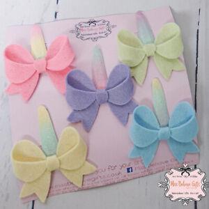 Set of 5 Pastel Bow Handmade Hair Clips Newborn Baby Girls Infant Toddler