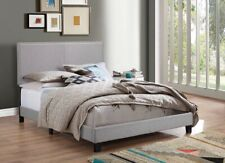 Contemporary Gray Nailhead Upholstered Fabric Queen Size Bed
