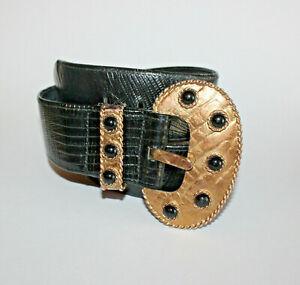 Vintage Carlisle Black Leather Belt w Bold Brutalist Brass Buckle Sz