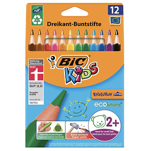 BIC Kids Evolution Triangle ECOlutions Colouring Pencils Assorted - Pack of 12