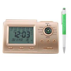 Digital Automatic Azan Adhan Clock Islamic Muslim Prayer LCD Alarm Clock Gold