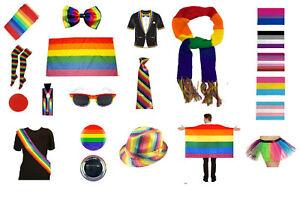 LGBT Gay Pride Fancy Dress Party Rainbow Clown Mardi Gras Flag Trans Bi Lesbian