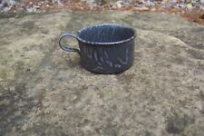 """Antique Grey Swirl Graniteware/Enamelware Childs Coffee Cup 2"""" Tall"""