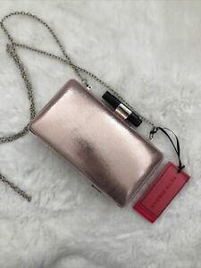 Beth Jordan Chrome Chain Pink / Rose Gold Clutch / Cross Body Bag Rrp £29.99