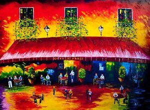 Natasha Petrosova original oil painting Caffe in Paris 30x40 inch