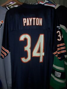 CHICAGO BEARS WALTER PAYTON REEBOK NFL VINTAGE COLLECTION JERSEY - L -PRE-OWNED