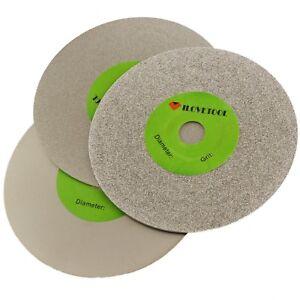 "3Pcs 4"" inch Grit 80 600 3000 Fine Diamond Grinding Disc Wheel Coated Flat Lap"