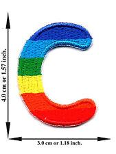 """ C "" Rainbow Alphabet Letter English Language Applique Iron on Patch Sew"