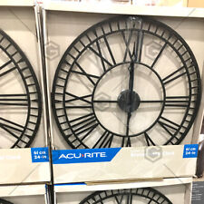 AcuRite Bronze Extra Large 61cm/24in Black Metal Wall Clock Indoor Or Outdoor