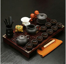 26pcs yixing zisha tea set in chinese solid wood tea table pot of tea cup teapet