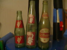 ~LOT of 3 DR PEPPER VINTAGE GREEN BOTTLES~OLD ANTIQUE~DUG UP~10-2-4~SODA