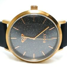 ROXY Rose Gold The Royal Women's sparkle face Black watch silicone band RX1008