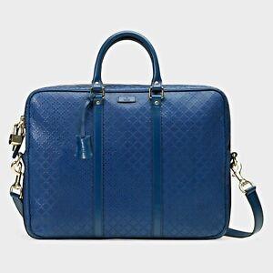 Made in Italy Gucci Bright Diamante Leather Briefcase Handbag Navy Blue