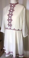💕 ASOS white embroidered dress 3/4 Sleeve Length  | Size 18 BNWT RRP £45