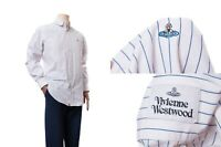 Men's Vivienne Westwood White & Blue Strip Long Sleeve White Shirt Logo Size 50