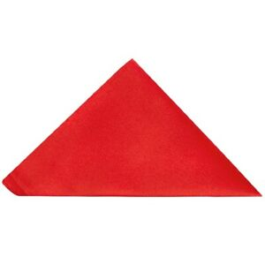 TIES R US Plain Bright Red Satin Silk Pocket Square Handkerchief Hanky Wedding