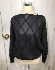 Women's Vtg Angel Leather Crochet Top Pullover Navy Batwing Dolman Sleeves M