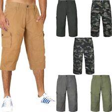Men's Plain Casual Summer Shorts 100% Cotton Pockets 3/4 Pants in 3 Colours