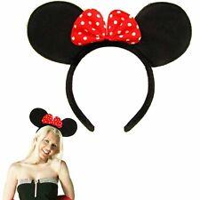 MINNIE MOUSE EARS HEADBAND Fancy Dress Disney Spotted Bow Ladies Kids Girls UK