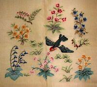 MZC 5062 Vintage Preworked Woodland Hummingbird Needlepoint Petitpoint Canvas