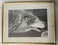 """2001 OG Charcoal Drawing """"A Howlin Wolf"""" Signed by Richard Alan Roberts, Framed"""