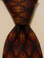 DUNHILL Men's 100% Silk Necktie ITALY Luxury Geometric Burgundy/Green/Yellow EUC