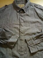 Mens NEXT Long Sleeve Grey Stripe Cotton Shirt Size XXL