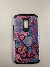 Moto G4 Play Floral Pattern TPU Slim Hybrid Armor Shockproof Case Cover XT1607