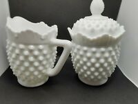 Fenton HOBNAIL pattern white Milk Glass creamer & sugar