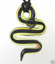 A Stunning Dichroic Glass Snake Pendant Necklace  Green  d0214