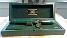 Cross vintage new usa made green marble fountain pen solid gold  14k  xf nib