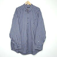 Nautica Button Up Checkered Mens Shirt Size XL Long Sleeve Blue