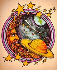 70's Hippie Aztec Alien Vape Marijuana moon stars astrology vTg t-shirt iron-on