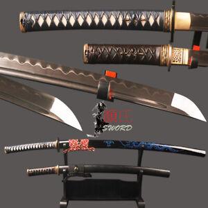 Wakizashi + Katana Japanese Samurai Sword Set 1095 Carbon Steel Clay Hardened