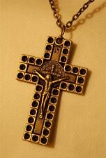 Handsome Circle Rimmed Brasstone St. Benedict Crucifix Cross Pendant Necklace