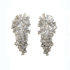 Baguette Cluster Cubic Zirconia CZ Chandelier Rhodium Plated Earrings-44mm
