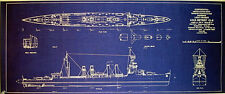 WW2 US NAVY Light Cruiser USS Detroit CL8 Print Blueprint Plan 12x26 (157)