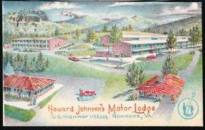 ROANOKE VA Howard Johnson's Motor Lodge Motel & Restaurant Vtg HoJo's Postcard