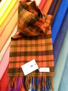 100% Pure Cashmere Scarf by House of Cashmere | Orange Dark Brown Check