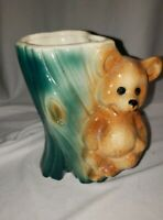 Adorable Vintage Brown Bear &  Blue Tree Planter, Royal Copley ? MCM (B5)