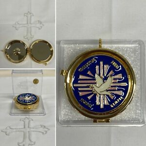 24K Gold Plated Pyx Box. Enameled Plaque.5.3cm Diameter, 1.8cm Height