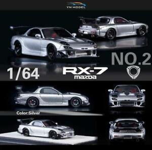 YM Model 1:64 Mazda RX-7 Amemiya Silver Resin Model