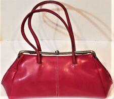 NINE WEST Vintage Inspired Bright Pink Vegan Leather Handbag Snap Closure Purse
