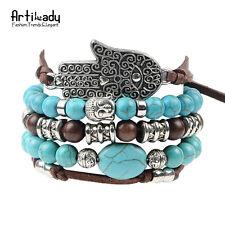 hamsa hand 5pcs set leather bracelets boho turquoise char buddha Silver Bracelet