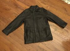 REACTION By Kenneth Cole Men's Black Leather Coat Jacket, Zip/Button Front Small