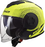 LS2 OF570 VERSO DUAL VISOR OPEN FACE SCOOTER MOTORCYCLE HELMET SPIN YELLOW